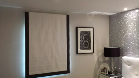 Roman Blind With Contrasting Border Fitted In London